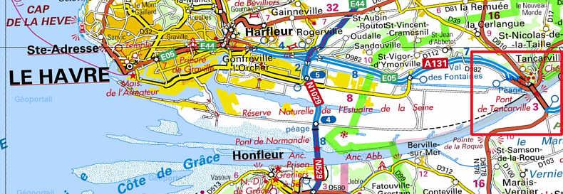 pont de normandie carte Le Pont de Tancarville   Seine m
